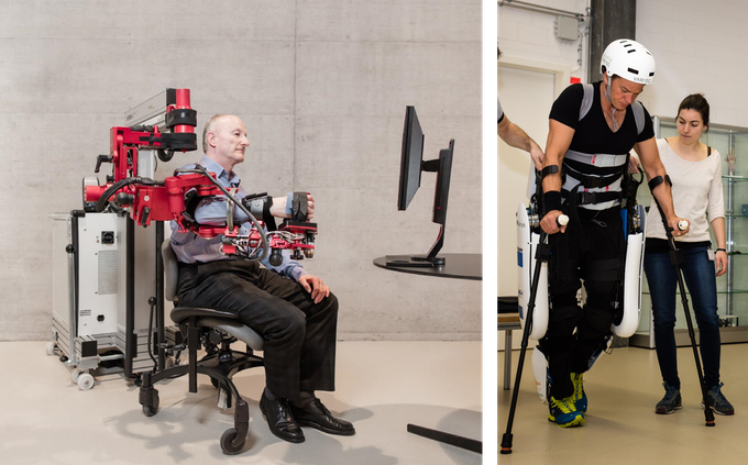 Examples for existing exoskeletons. Left: a stationary arm rehabilitation exoskeleton e.g. for stroke therapy. Right: leg exoskeleton that enables users with paraplegia to walk. Pictures used with permission of ETH Zürich, Switzerland.