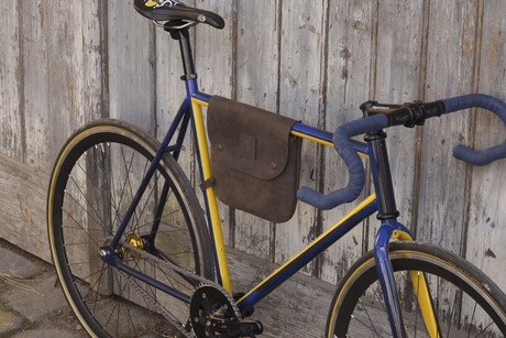 Hand Made Affordable Leather Bicycle Frame Bag That Gives Your Bike A Nice Fashionable Touch And