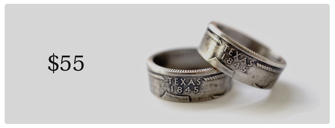 Statehood rings, made from U.S. currency. Available in all 50 states.