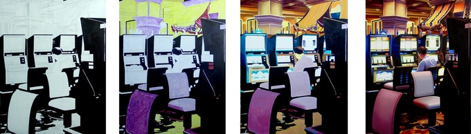 Examples of progress pictures of my painting Slot Machines