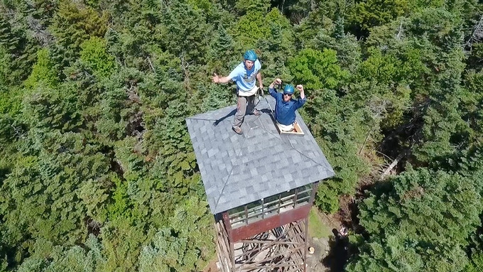 Roof replacement on top of the world - Smarts Mountain Fire Tower restoration.