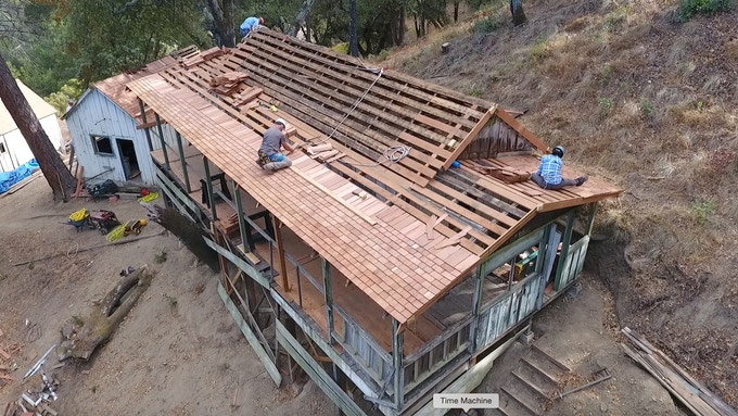 Cedar shake replacement - Gilroy Yamato Hot Springs restoration.