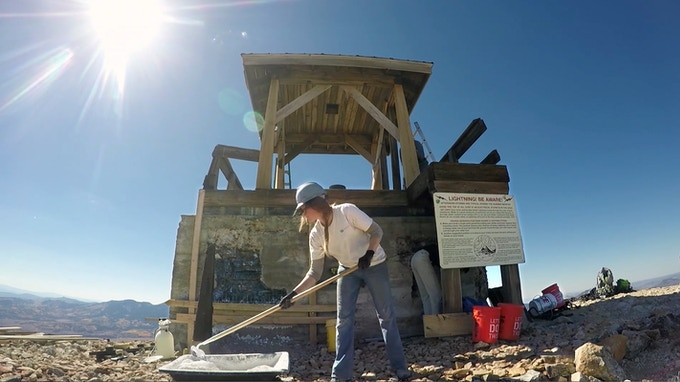 Mixing concrete at 10,744 feet - Hahn's Peak Fire Lookout restoration.