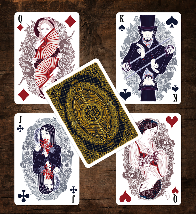 Madame Danglars as the Queen of Diamonds | Edmond Dantès (Aka The count of Monte Cristo) as the King of Spades | Mercédès as the Queen of Hearts | Edward de Villefort as the Jack of Clubs