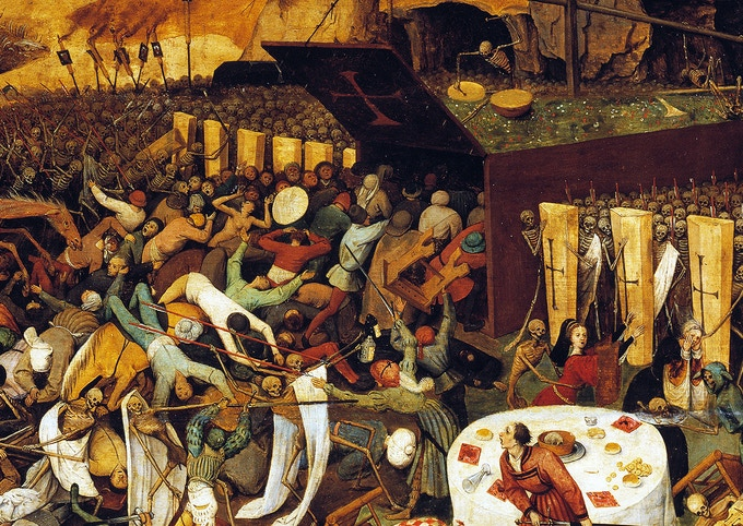 Detail of the Triumph of Death, by Peter Breugel. His hordes of death are the inspiration!