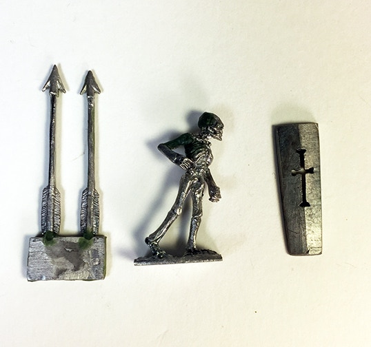 A shot of the skeleton marching, unassembled and unpainted with accessories