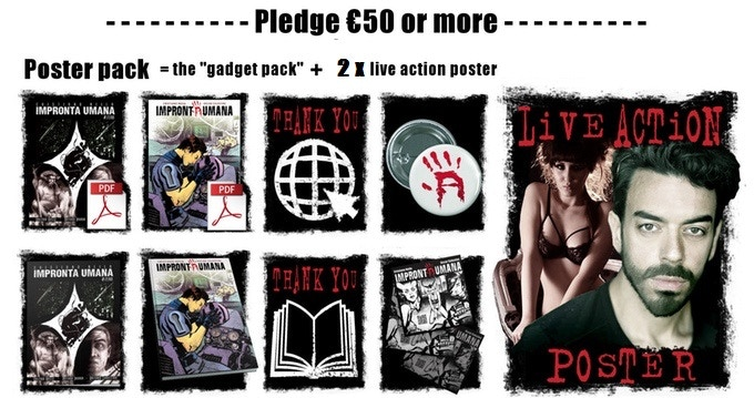 "The ""Poster pack "" includes two live action poster and all the items available for the ""gadget pack"""