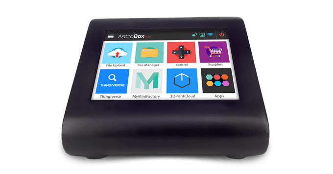 The AstroBox Touch is a simple, intuitive, cloud connected touchscreen for your 3D Printer. Yes, you can even extend its capabilities by installing 3D Printing related apps on it, just like your smartphone!