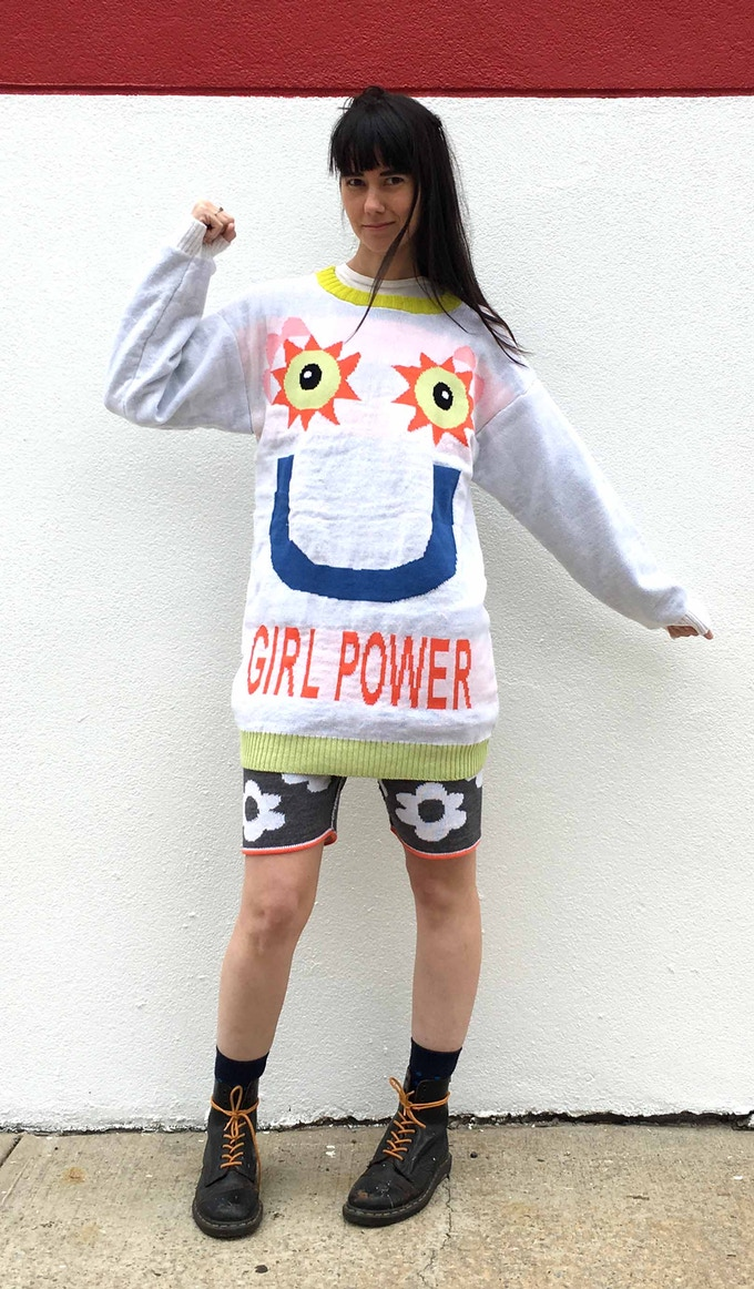 GIRL POWER jumper and flower shorts. Designed by DEGEN and produced with a Kniterate machine.