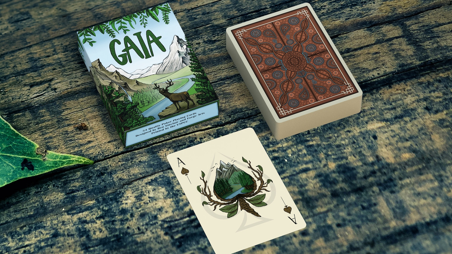 A hand-drawn deck of 54 playing cards featuring rich artwork of animals and the biomes they encompass.