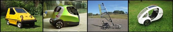 Left to right: electric Citi-car, compressed air car AirPod, sail driven Whike, solar ELF trike