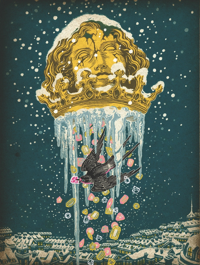 Yuko Shimizu's illustration of THE HAPPY PRINCE, one of Oscar Wilde's fairy tales