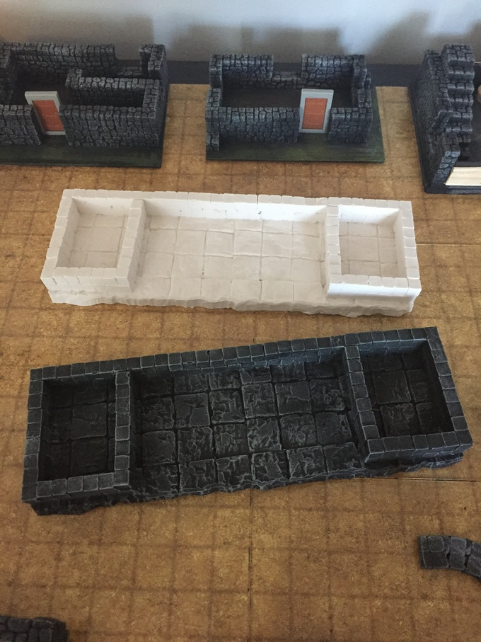 unpainted and painted dice trays
