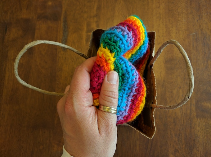 A crocheted rainbow hat that I made.