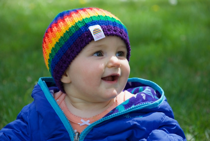 Baby Rainbow Hat on 9 month old child.