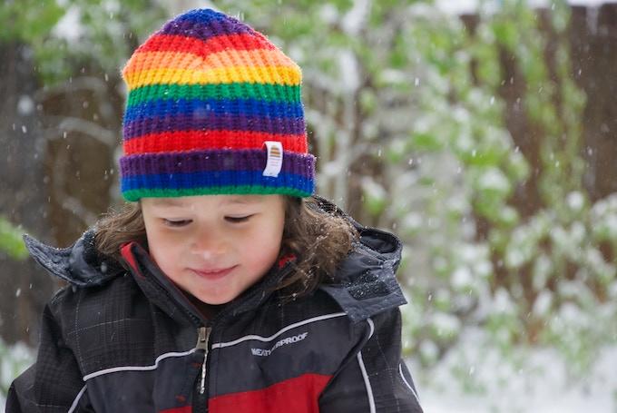 Little Rainbow Hat on 2.5 year old child.