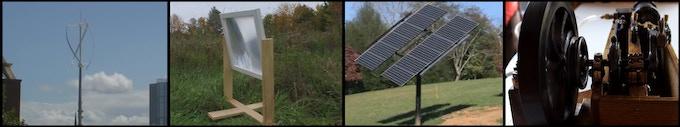 Left to right: Vertical Axis Wind Turbine, Fresnel Lens, Solar Tracker, Solar Steam engine