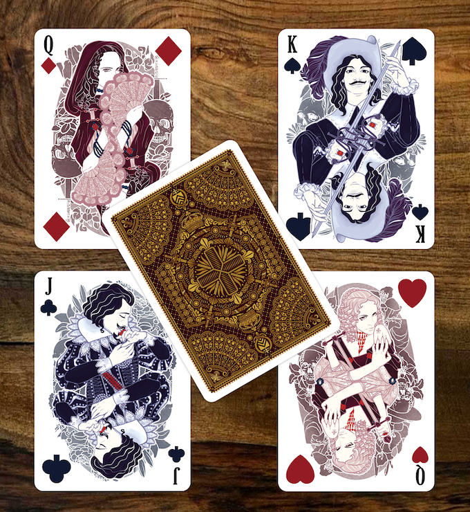 The Lover as the Queen of Diamonds | D'Artagnan as the King of Spades | Milady de Winter as the Queen of Hearts | Duke of Buckingham as the Jack of Clubs