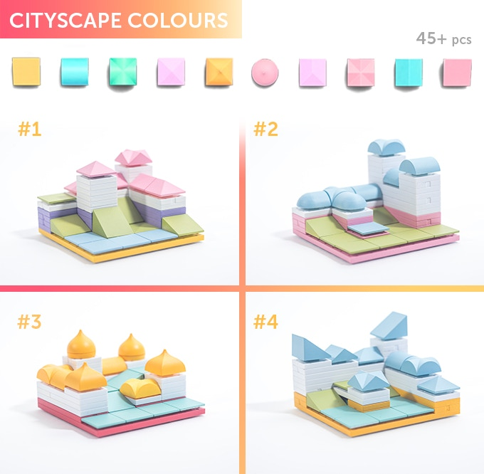 Cityscape Colour 01-04, choose from four different coloured styles. In the box you will get a selection of 45+ Arckit components in a ziplock bag along with an instruction leaflet. Additional content will be available online at arckit.com.