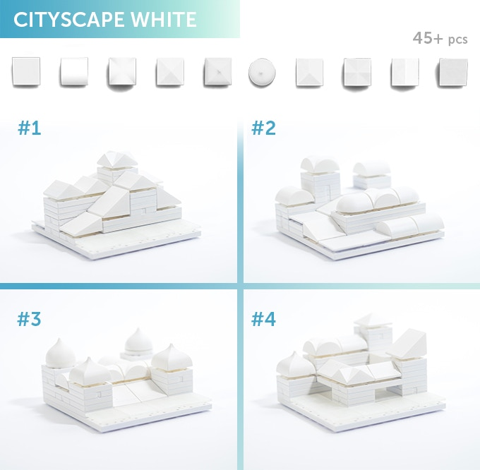 Cityscape White 01-04, choose from four different non-coloured styles. In the box you will get a selection of 45+ Arckit components in a ziplock bag along with an instruction leaflet. Additional content will be available online at arckit.com.