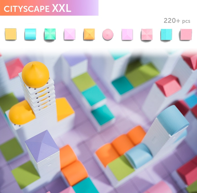 Cityscape XXL, the ultimate colourful kit for creating your dream city. In the box you will get a selection of 220+ Arckit components in tray along with an instruction booklet. Additional content will be available online at arckit.com.