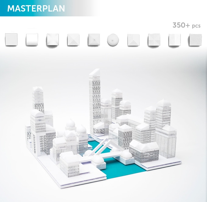 Masterplan, design your own CAPITAL CITY! In the box you will get a selection of 350+ Arckit components with a tray, a booklet, and graphic adhesives for realistic surface finishes. Additional content will be available online at arckit.com.