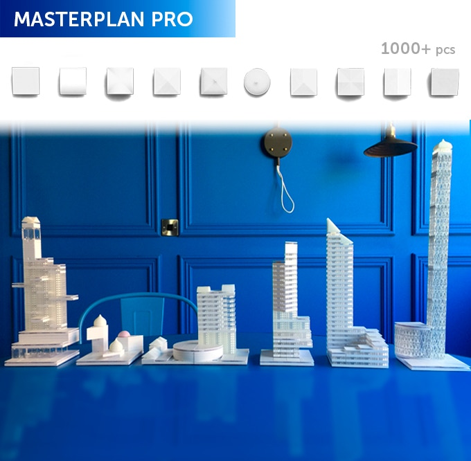 Masterplan Pro, for the ultimate model maker to build fantastic structures! In the box will be a selection of 1000+ Arckit components with trays, a booklet, and graphic adhesives for realistic finishes. Additional content will be online at arckit.com.