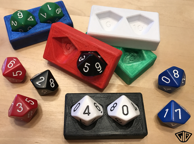 3D printed prototypes and standard D10's.  The finished version is injection molded and includes spin-down D10's.