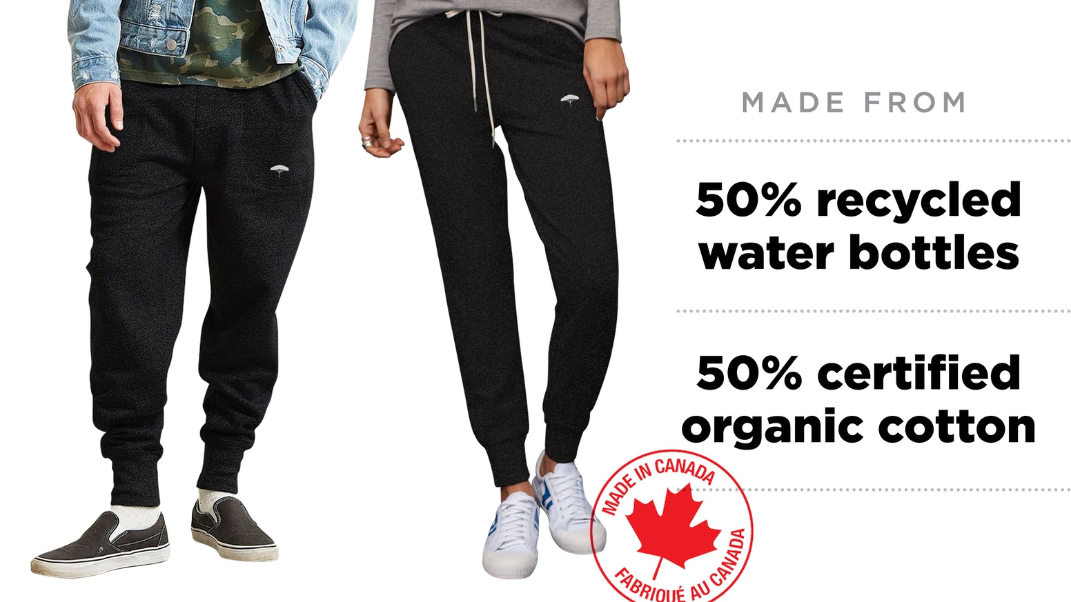 One pair of joggers will save 110 days of drinking water, 8 plastic bottles from the landfill, and 1 whole day of light bulb energy.