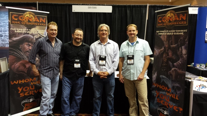 The original founders of Pulposaurus at the Game Manufacturer's Trade Show in 2015.