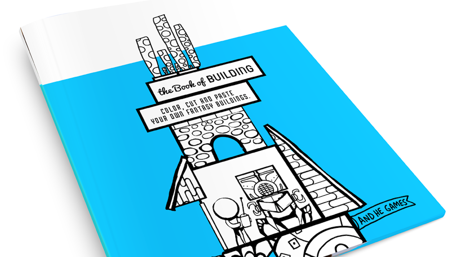 A cut 'n paste coloring book featuring fantasy architecture.