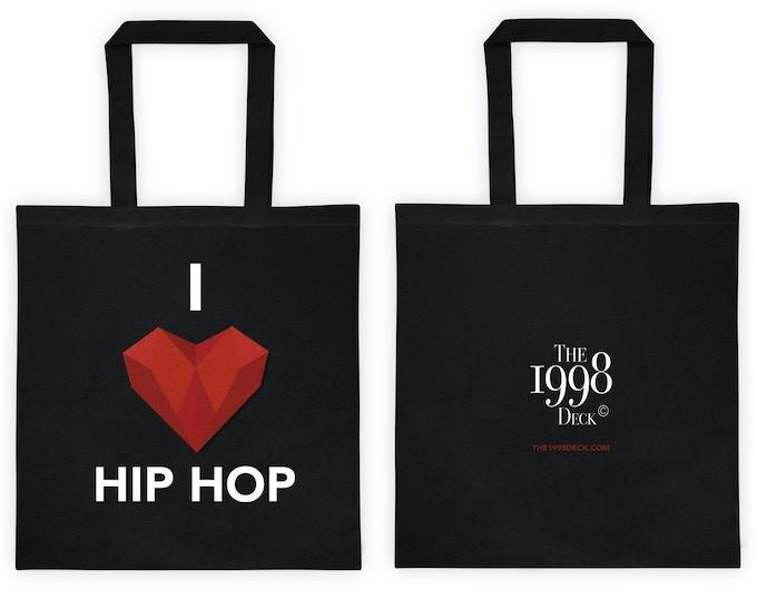 'I Heart Hip Hop' Black Canvas Tote