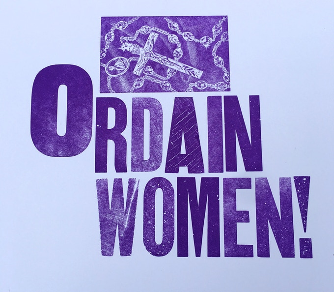 Ordain Women hand letter pressed large card