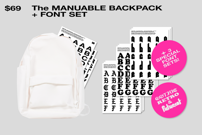The Backpack & set of Font stickers + 3 Special Font Sets!