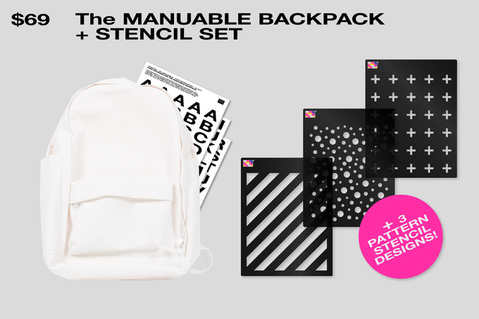 The Backpack & set of Font stickers + 3 Special Stencil Designs!