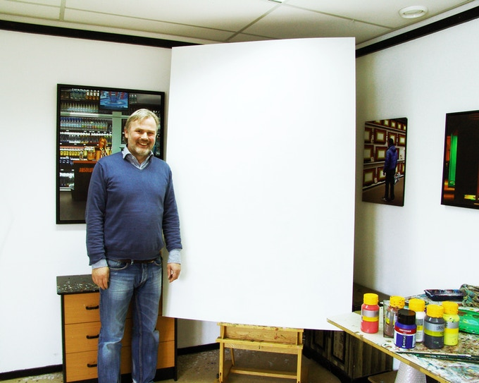 """I'm standing right next to a still blank 70x 48"""" panel in my studio. With your support I can make a true masterpiece out of it!"""