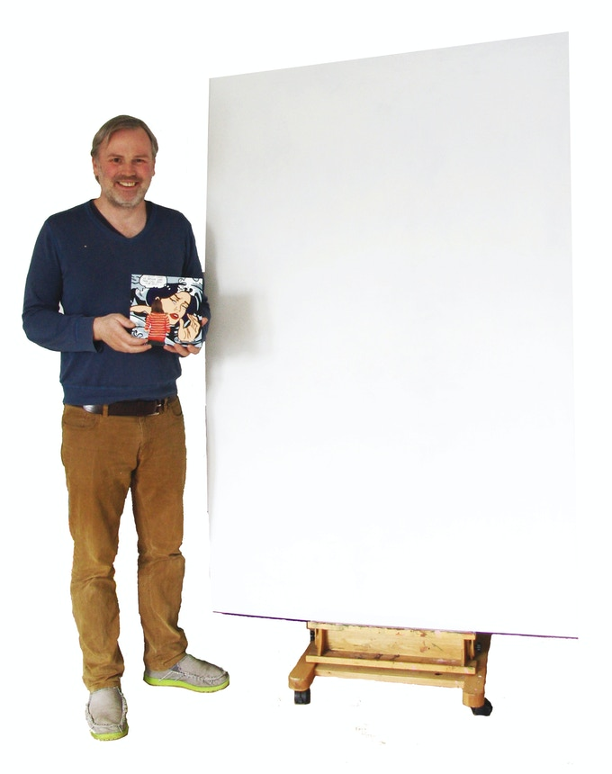 """If you get this reward this blank 70x 48"""" panel I'm standing right next to will be your brand new painting!"""