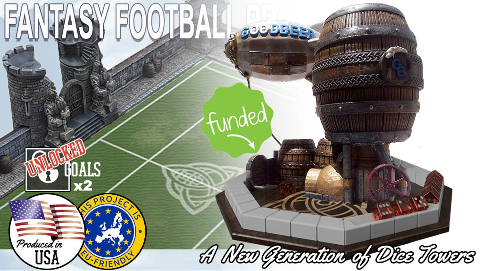 Fantasy Football Modular Resin Stadiums, compatible with the new(2016) and old 'Blood Ball' pitches. Plus, our very own Dice Towers!