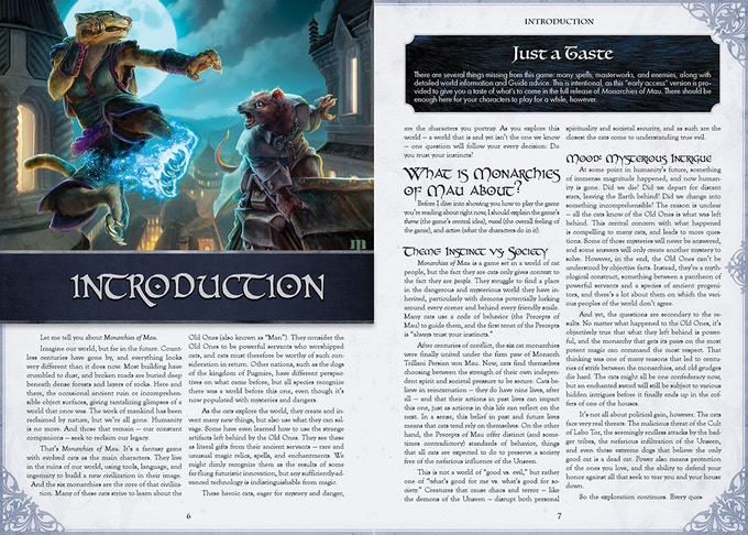 Two Page Spread from the Monarchies of Mau Early Access PDF
