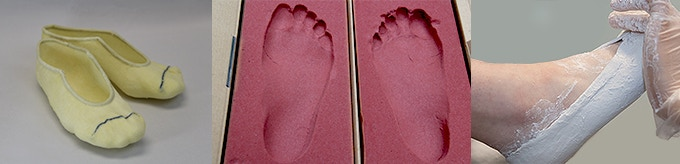 We scan the STS socks casting, foot impression foam boxes and conventional plaster castings