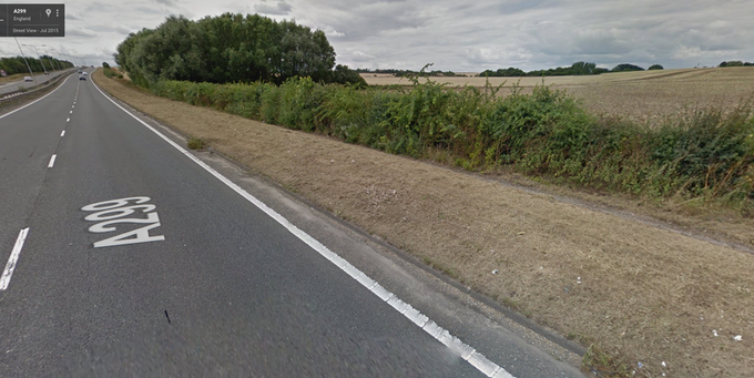Slivers of the buried long-distance concrete cycleway on the Thanet Way can be glimpsed via Google Street View