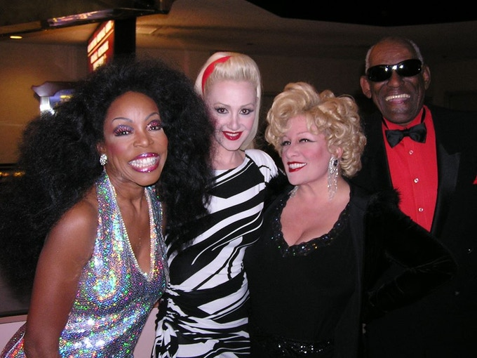 "Backstage in Las Vegas with ""madonna"", ""bette midler"" & ""ray charles"". That's me...""diana ross""."