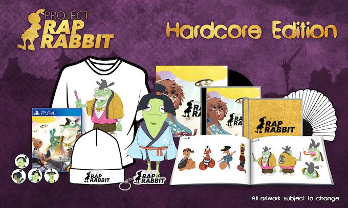 Includes: one copy of Project Rap Rabbit, artbook, soundtrack CD, remixed soundtrack CD, keyring, badge set, backer-only t-shirt, Project Rap Rabbit folding fan, Otama-Maru plushie, gatefold vinyl soundtrack