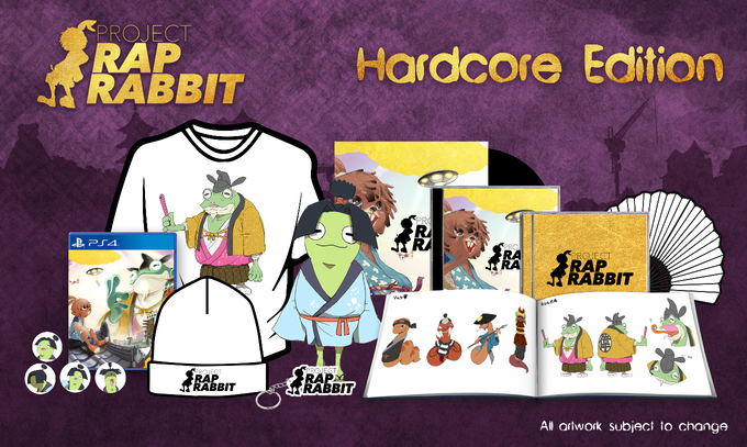 Includes: one copy of Project Rap Rabbit, artbook, soundtrack CD, remixed soundtrack CD, keyring, badge set, backer-only t-shirt, Project Rap Rabbit folding fan, Otama-Maru plushie, gatefold vinyl soundtrack