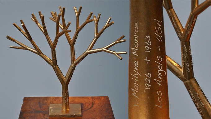 """Pierre Rulens (be) 6 generations Ancestry . The Gold fractal tree.  12"""" inches height.  Original sculpture available with your data engraved."""