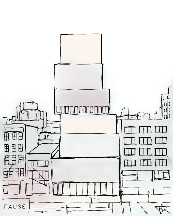 Poster or digital thank you card with original artwork inspired by NYC architecture.