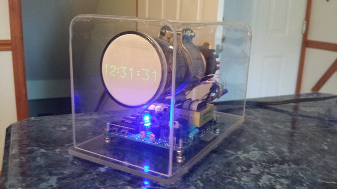 The first prototype, with the gps module piggybacked on the board in back.