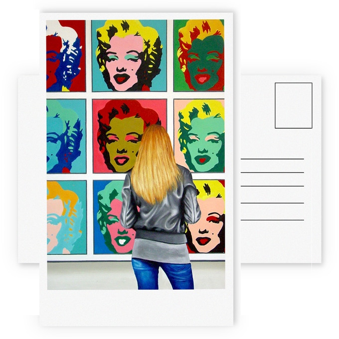 """A set of 10 full color A6 post cards of the museum painting I create for this project (not the painting depicted here, but similar). Each card is ± 6x4"""" or 148 x 105 mm (300 gsm)."""