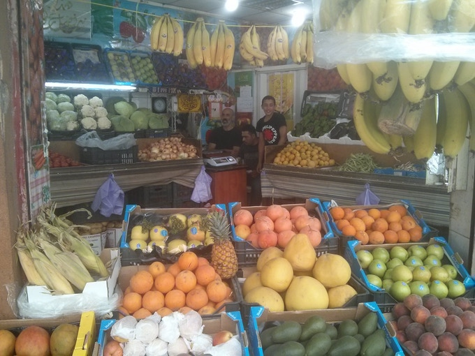 June, 2016; Helping out at my friends' greengrocer shop, Ras En-Nebaa, Beirut.