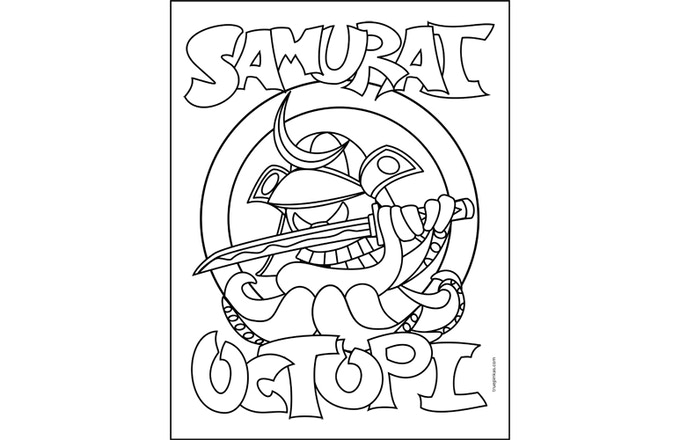 Samurai Octopi Hard Enamel Lapel Pin and Coloring Book
